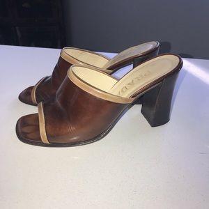 Brown Leather Prada Mules